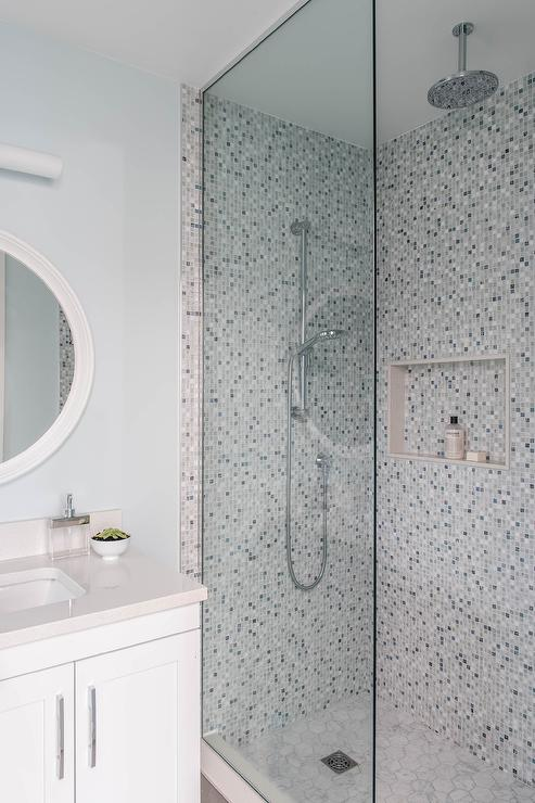 Walk In Shower With Gray Fleur De Lis Mosaic Tiles