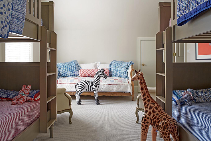 Boys and Girls Bunk Room with Taupe Bunk Beds