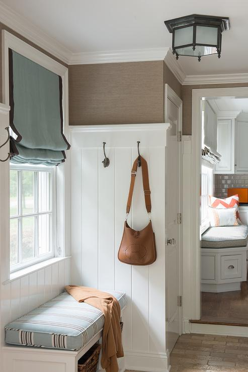 Blue And Brown Mudroom With Shiplap Trim Transitional