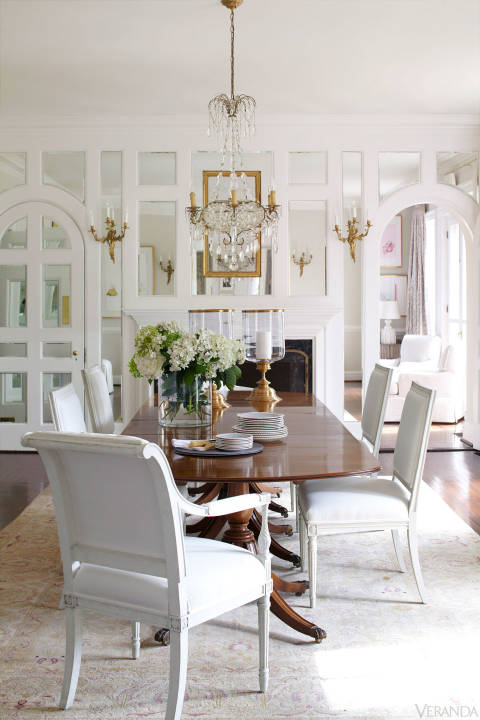 White And Gold French Dining Room With Mirrored Wall Panels
