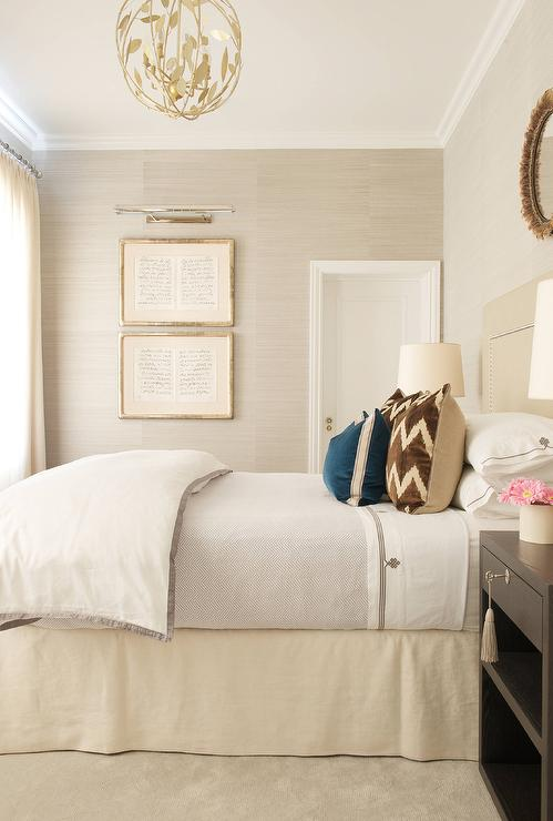 Cream headboard with schumacher acanthus stripe wallpaper for Cream and brown bedroom designs