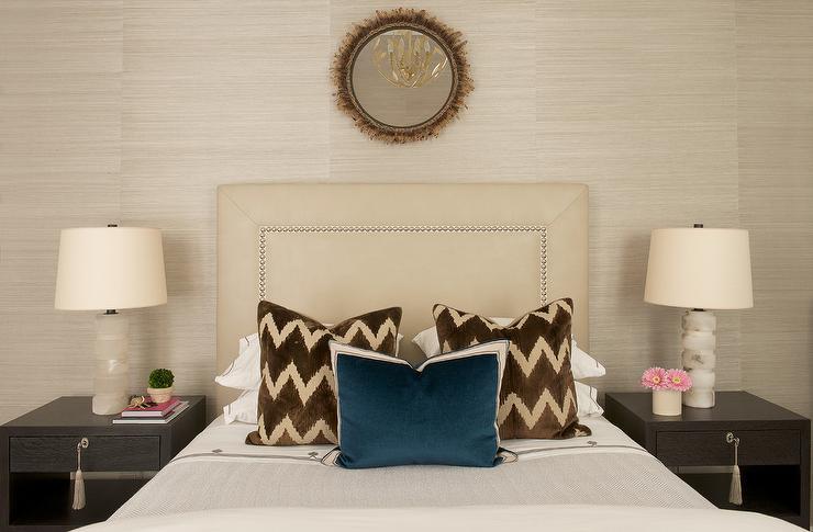 Cream Brown Bedroom Round Marble