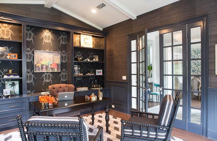 Black Paneled Office With Vaulted Ceiling Eclectic Den