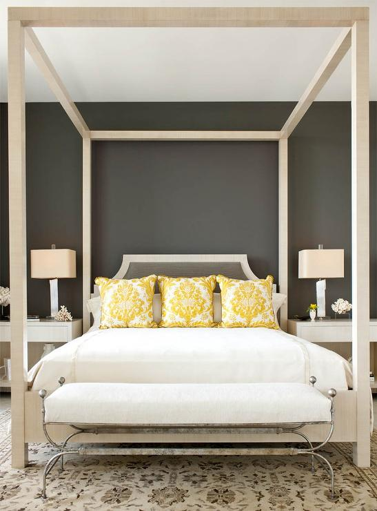 yellow and gray bedroom with ivory canopy bed - Yellow Canopy Interior