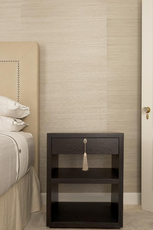Cream Headboard And Espresso Stained Nightstand With Tassel Hardware