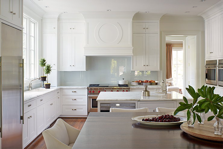 White KItchen with Glossy Blue Backsplash - Transitional - Kitchen on glossy kitchen table, glossy kitchen paint, glossy kitchen cabinets, glossy kitchen appliances, glossy metal,