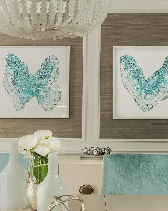 Taupe And Blue Dining Room With Turquoise Inkblot Style Art