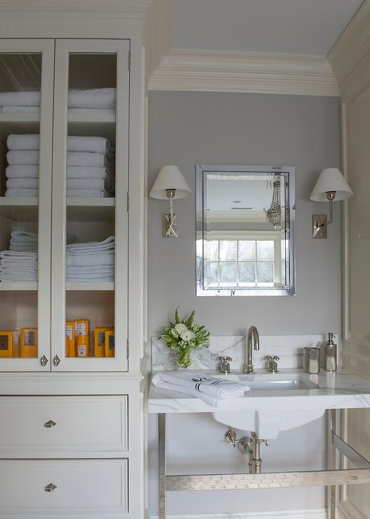 Ivory and Gray Bathroom with Glass Door Linen Cabinet - Transitional ...