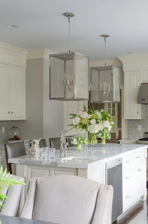 Ivory Kitchen Island With Nickel And Mesh Lanterns Transitional Kitchen