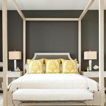 Yellow And Gray Bedroom With Ivory Canopy Bed