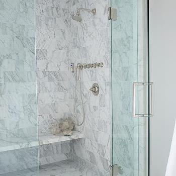 Marble Floating Shower Bench Design Ideas