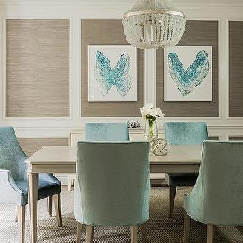Taupe And Turquoise Blue Dining Room With Stacked Wall Moldings Filled Grasscloth