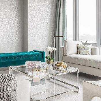 Teal Velvet Tufted Bench With Nickel And Glass Cocktail Table
