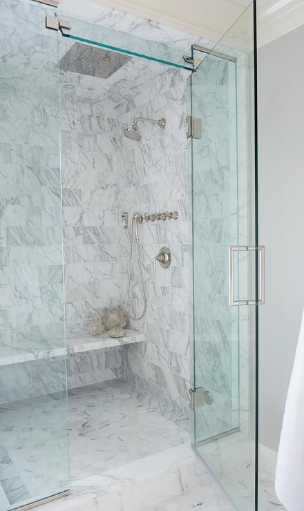 Master Shower With Floating Marble Bench
