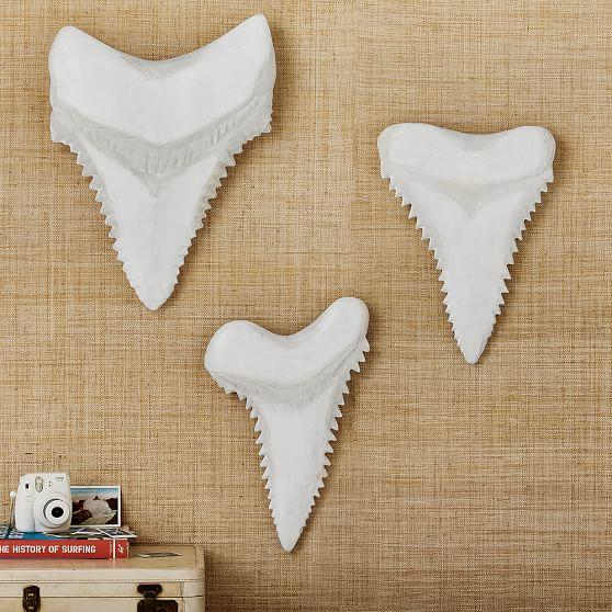 White paper mache shark teeth wall decor for Papier mache decorations