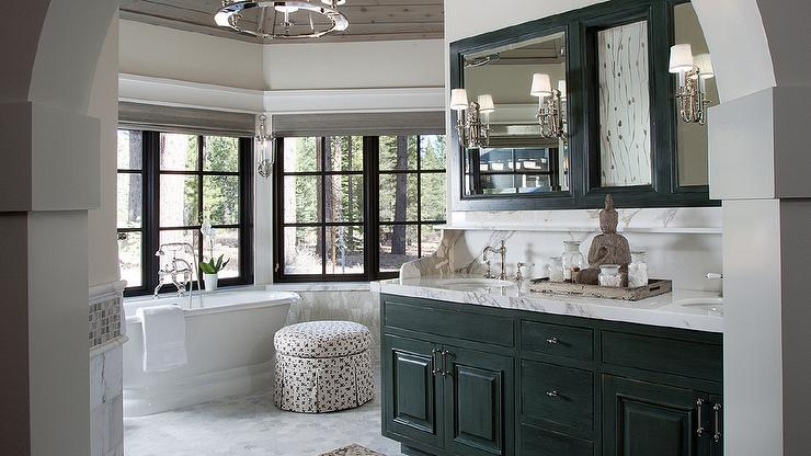 Round Bathroom With Black Distressed Double Bath Vanity