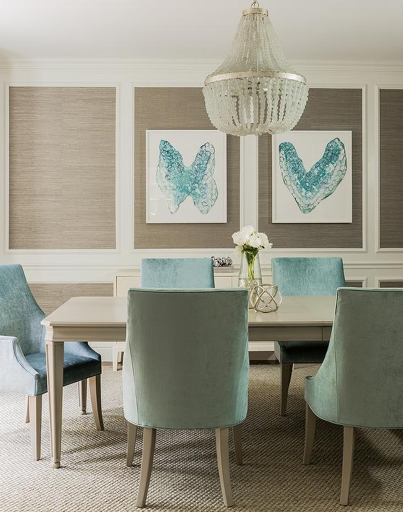 Blue and taupe dining room with nickel and glass console for Blue and taupe bedroom ideas