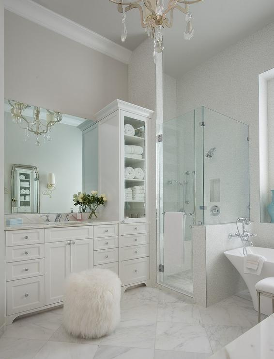 White bathroom with antiqued mirrored cabinets for Master bathroom white