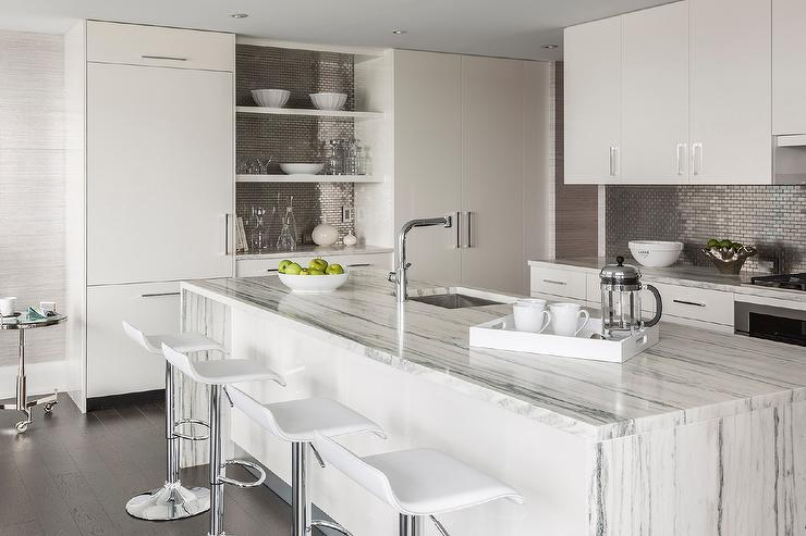 View Full Size. Modern Kitchen Boasts White Flat Front Cabinets Paired With  ...