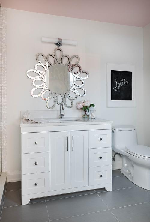 White Kids Bathroom With Sunburst Mirror