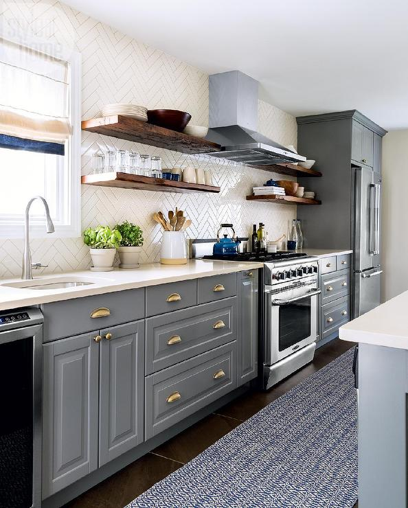 Cream And Gray Kitchen With Cream Herringbone Backsplash Tiles - Grey and cream kitchen cabinets