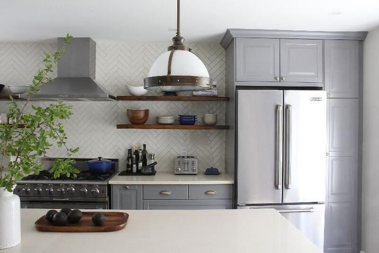 Gray And Cream Kitchen With Cream Tiles That Go All The Way Up To - Grey and cream kitchen cabinets