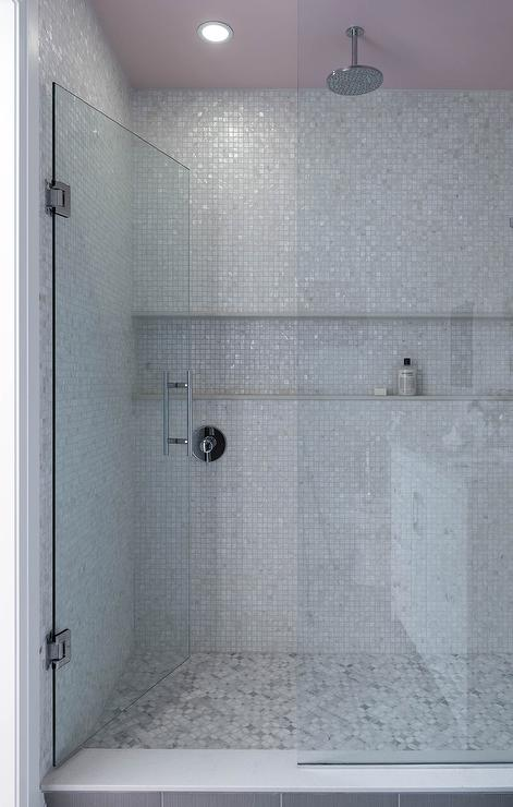 Gray Mosaic Glass Shower Tiles with Pink Ceiling