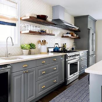 Gray kitchen cabinets with cream countertops design for Blue and cream kitchen ideas