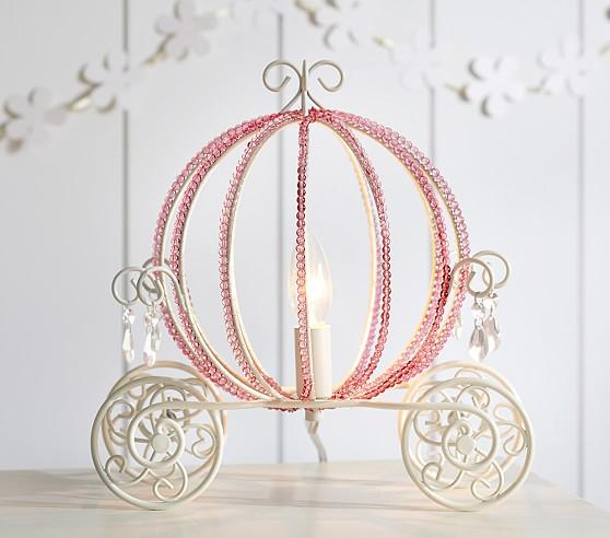 Pink Beaded Carriage Table Lamp