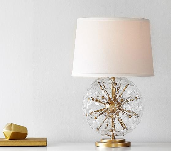 Glass Orb Gold Lamp