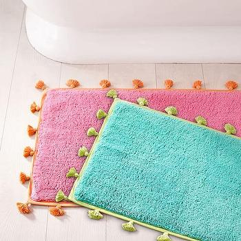 Chevron Blue And Pink Tassel Bath Mat