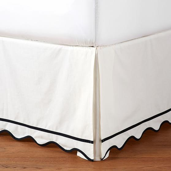 Black Trim White Scallop Bedskirt