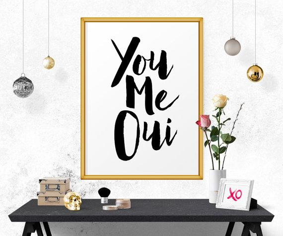 you me oui black typography print