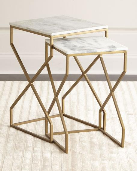 Brass And Marble Nesting End Tables