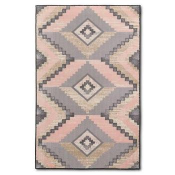 Retro Garden Pink And Grey Polyester Area Rug