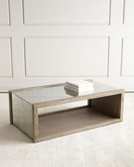 Antique Mirrored Open Shelf Coffee Table