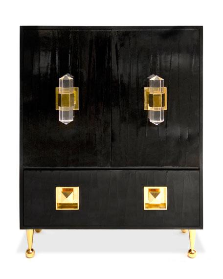 Brass Vitrine Cabinet By Mastercraft