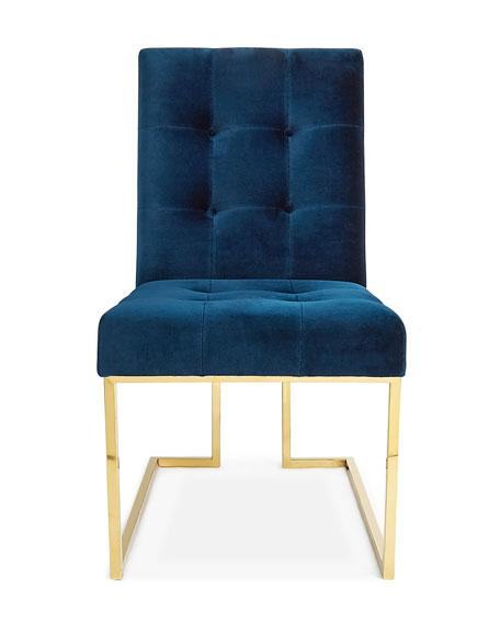 Nice Navy Armless Velvet Dining Chair