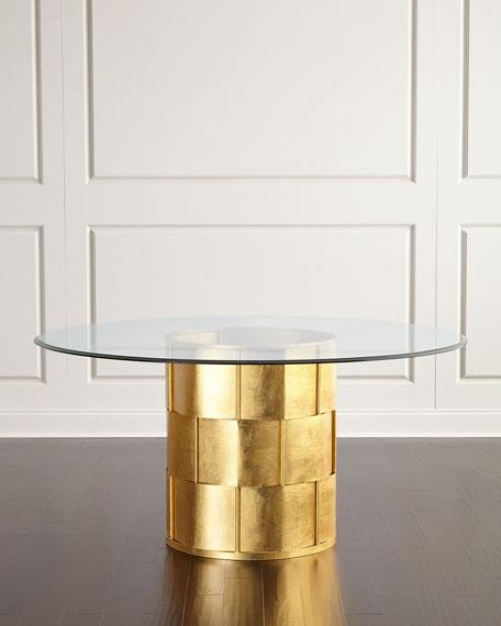 Gold Pedestal Glass Dining Table