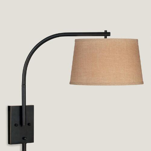 Black swing arm drum shade wall sconce