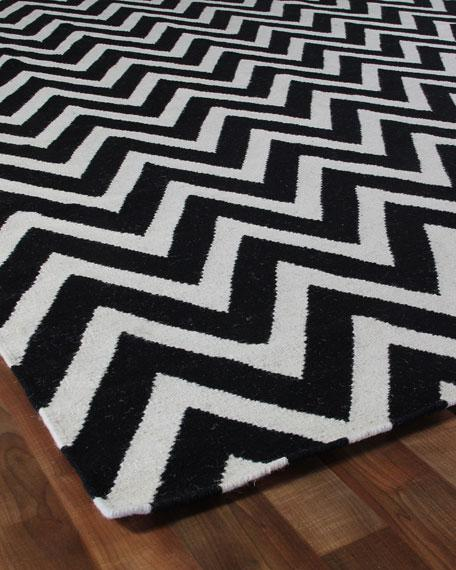 Black And White Chevron Lines Rug View Full Size