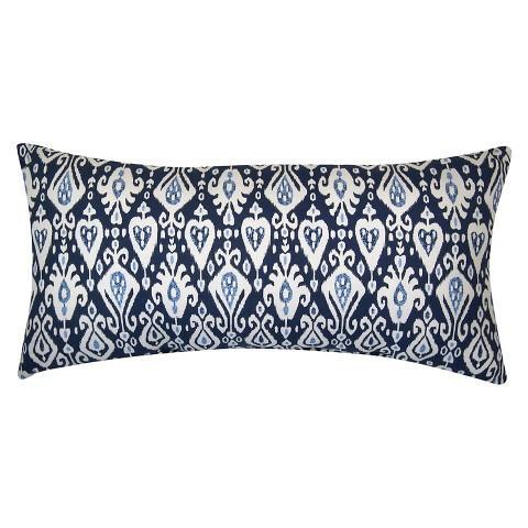 Blue Ikat Pattern Outdoor Pillow