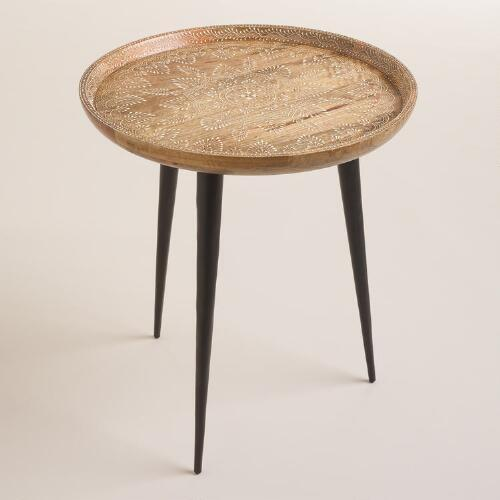 Brown round tray side table for Tray side table