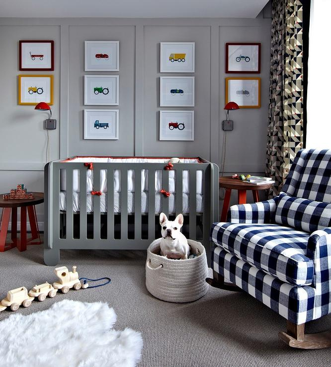 Brown And Orange Boy Nursery With Brown Striped Walls