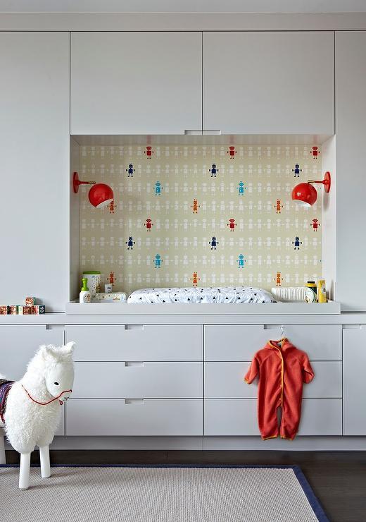 Robots Wallpaper On Back Of Nursery Built Ins