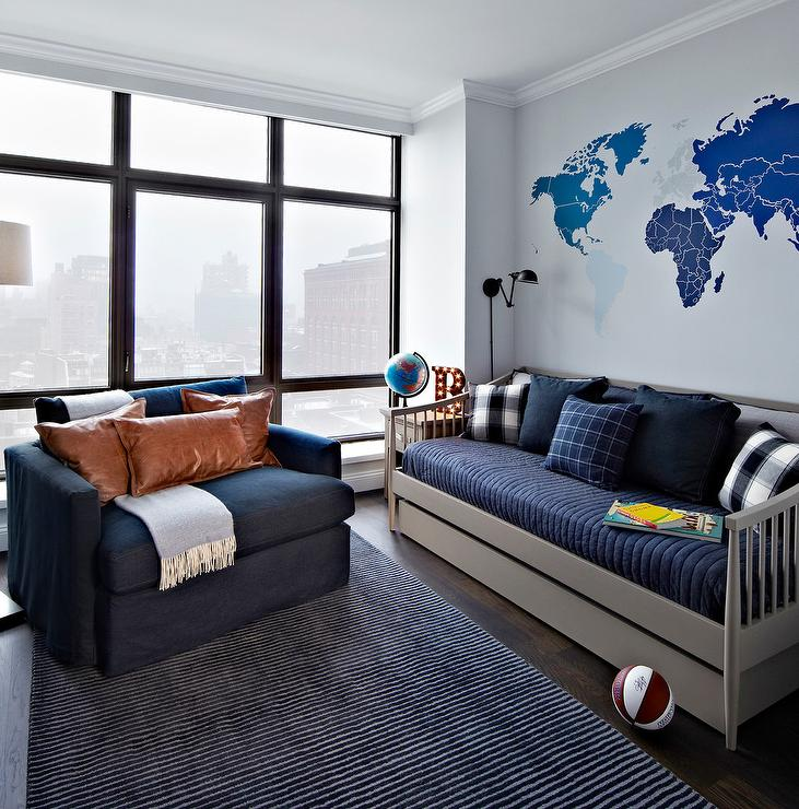 Blue And Gray Boys Room With Gray Spindle Daybed Contemporary - Boys room with maps