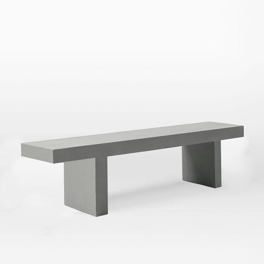 Gray Concrete Inspired Dining Bench