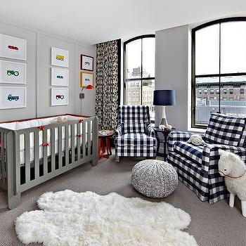Navy Blue And Gray Boy Nursery With Gingham Glider