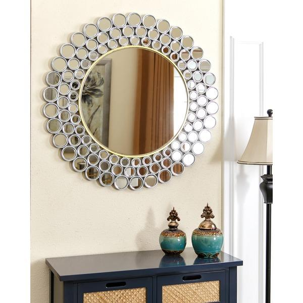 mirrored disks frame round wall mirror view full size