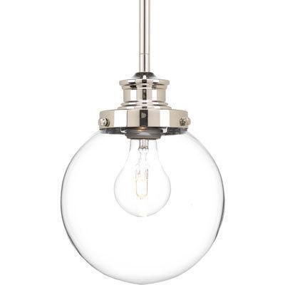glass orb 1 light nickel pendant